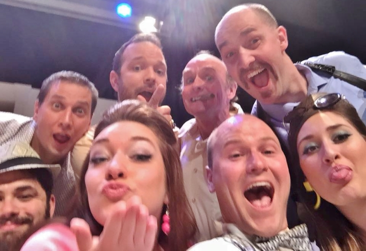 The Odd Couple cast snapping their traditional selfie post-show. (Picture borrowed from Russell Thomas)